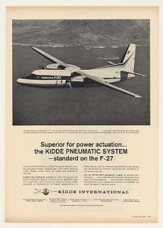 1963 Fairchild F 27 Aircraft Kidde Pneumatic System Ad