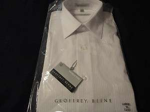 GEOFFREY BEENE MENS LONG SLEEVE WHITE DRESS SHIRT SIZE IS 16 LARGE 32