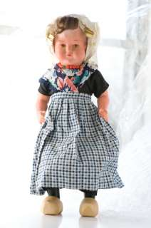 Doll Dutch Wood Shoes Holland Netherlands Vtg 12 inch