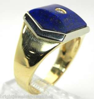 Impressive 18k Y/G Lapis & Diamond Mens Pinky Ring