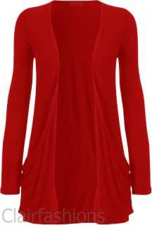 New Ladies Long Sleeve Pocket Cardigan Womens Top 16 22