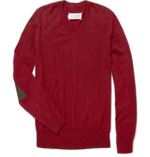 Maison Martin Margiela Elbow Patch V Neck Sweater  MR PORTER
