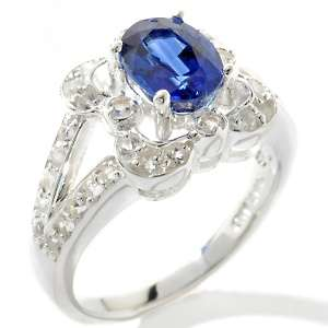 73ct Blue Kyanite and White Topaz Sterling Silver Fancy Oval Ring
