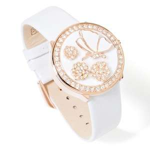 Victoria Wieck Mother of Pearl Butterfly Hidden Dial Strap Watch at