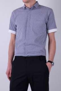 Navy Short Sleeve Gingham Shirt by B Store   Navy   Buy Shirts Online