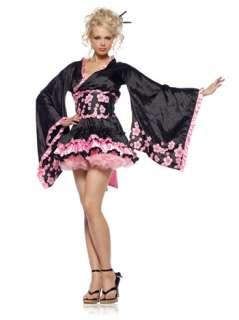 Cherry Blossom Geisha   Three piece black costume with pink flowering