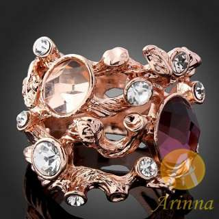 Arinna Swarovski Crystals rose Gold GP amethyst Rings