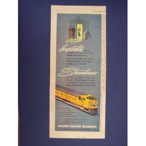 Union Pacific Railroad 50s Print Ad,vintage Magazine