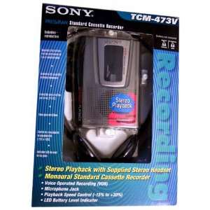 : Sony TCM473V Portable Stereo Cassette Player/Recorder: Electronics