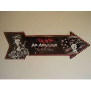 Betty Boop Large Arrow Metal Sign Biker Betty