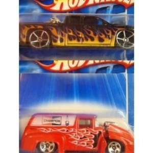 Bike FTE   56 Custom Ford Auto Parts Delivery Red With Flames Scale 1