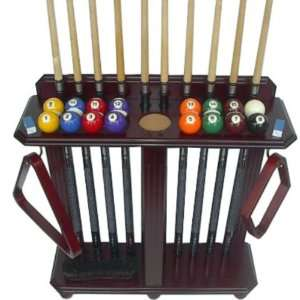 10 Pool Cue Billiard Stick Floor Rack   Holder Mahogany Finish