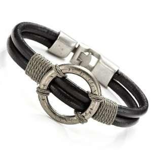 Black Roman Style Leather Steel Bracelet Cuff Jewelry