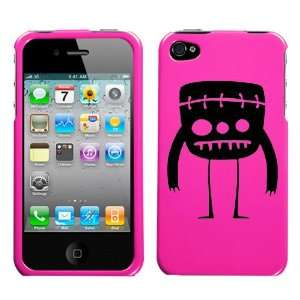 black mini frankenstein monster design on magenta pink phone case for