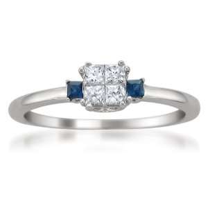 14k White Gold Princess cut Diamond and Blue Sapphire