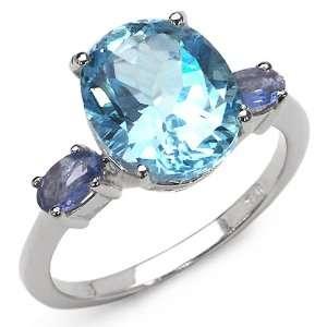 50 Carat Genuine Blue Topaz & Tanzanite Sterling Silver Ring Jewelry