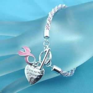 : Pink Ribbon Breast Cancer Awareness Charm Bracelet: Everything Else