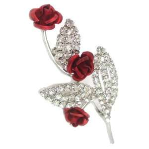 Red Rose with Leaves and Swarovski Crystal Stones Brooch Jewelry