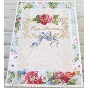 Carol Wilson Feminine Birthday Card Vintage Floral with Blue Bow