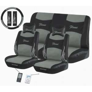 Flame 11 Pc Ipocket Seat Cover Set Grey Car Truck Bucket Seat Cover