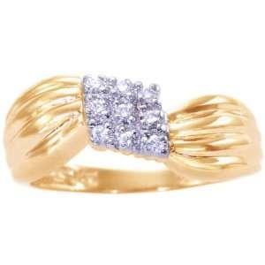 Gold Diamond Cluster Promise Ring Diamond, size7.5 diViene Jewelry