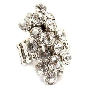 Big Crystal Cluster Stretch Ring Cocktail Silver Tone