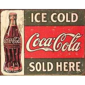 Pop Metal Tin Sign COKE 1916 Ice Cold Sold Nostalgic
