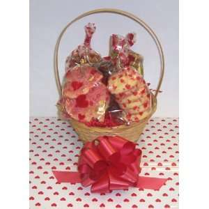 Small Valentines Day Classic Cookie Basket with Handle Heart Wrapping