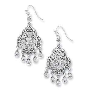 Silver tone Crystal Chandelier Drop Earrings/Mixed Metal Jewelry