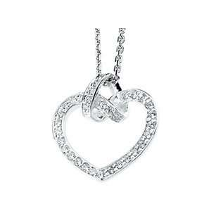 com Sterling Silver Cubic Zirconia Heart Necklace Shula NY Jewelry