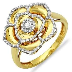 18k Yellow Gold Plated Sterling Silver Round Diamond Ladies Cocktail
