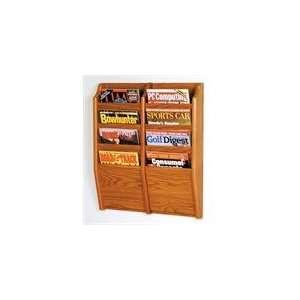 Wooden Mallet 8 Pocket Magazine Wall Rack in Medium Oak