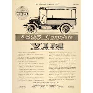 1911 Ad VIM Delivery Cars Model D Truck Automobile