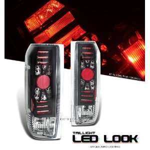 Diamond Cut LED Style Tail Light with Chrome Center and Black Housing