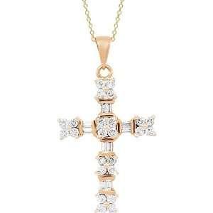 14K Rose Gold Diamond Cross Pendant 1.00 Ctw Jewelry