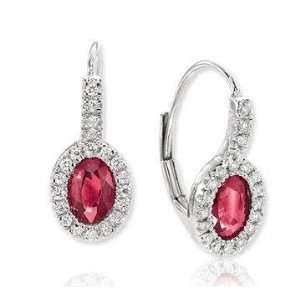 14k White Gold Oval Ruby Prong Drop Diamond Earrings Jewelry