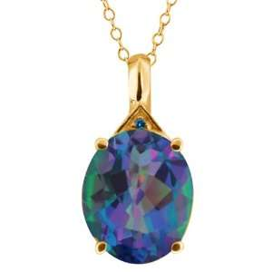 Oval Millenium Blue Mystic Quartz and Diamond 10k Yellow Gold Pendant