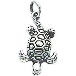 Sterling Silver Antiqued Sea Turtle Charm Jewelry