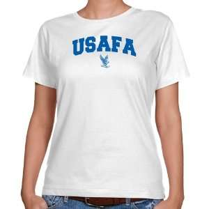 Air Force Falcon Shirts : Air Force Falcons Ladies White Mascot Arch