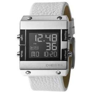 Diesel Digital White Leather Strap Black Dial Mens Watch