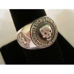 Masonic Skull and Pillars Freimaurer Free Masons Sterling Silver Ring