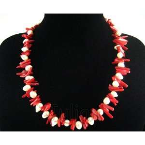 Red Coral 10mm White Freshwater Pearl Necklace J001