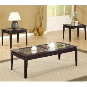 Occasional 3 Pc Coffee/End Table Set w/Glass Insets by Coaster: