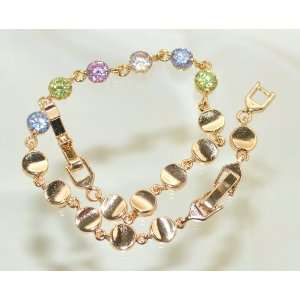 14k Yellow Gold Plated Round Cubic Zirconia Bracelet