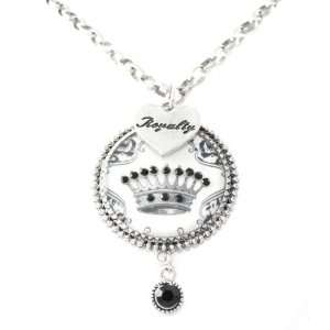 White Crown Royalty Heart and Black Crystal Dangle Charm Necklace