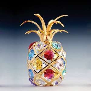 24k Gold Plated Swarovski Crystal Figurine   Pineapple