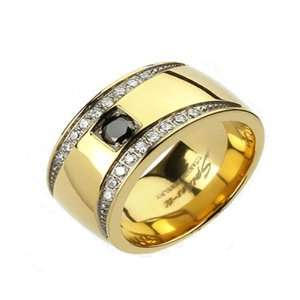 Solid Titanium IP Gold CZ 11mm Wide Ring Band 9  14 R103