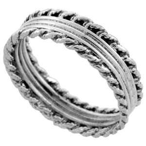Sterling Silver Bali Style Rope Ring Band (Available in Sizes 6 to 10