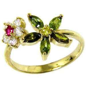 Solid 14K Yellow Gold Cubic Zirconia Flower Petals Toe Ring Jewelry