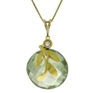 14k Solid Gold 18 Necklace with Green Amethyst Pendant Jewelry